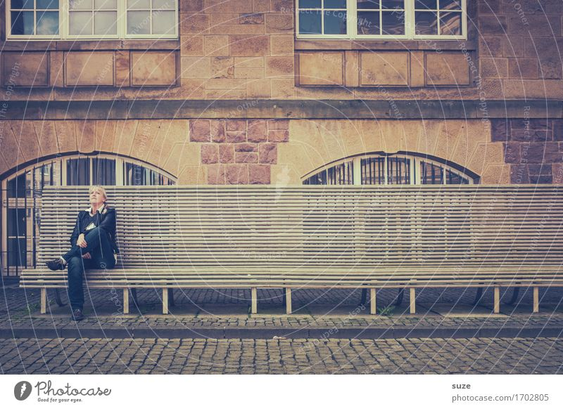 City Relaxation Loneliness Architecture Building Think City life Meditative Sit Wait Places Individual Break Manmade structures Bench Cobblestones