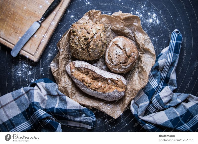 Healthy Wood Nutrition Breakfast Grain Meal Dinner Knives Chopping board Roll Cooking salt Flour Baker Linen Bakery Baguette