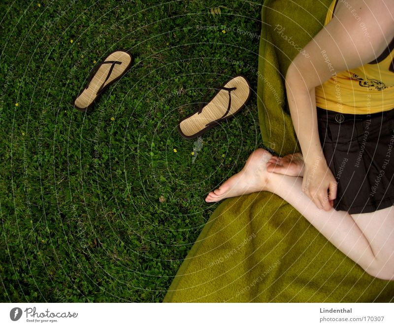 Flip Flop photo Flip-flops Salto Fiasco Meadow Blanket Grass Sit Skirt Lie arrived Arrival