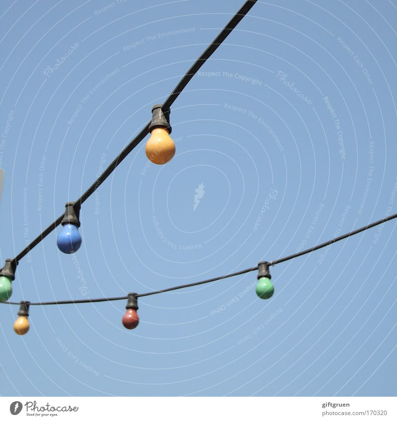 Sky Lamp Bright Lighting Electricity Network Decoration Hang Idea Illuminate Street lighting Electric bulb Awareness Sky blue Celestial bodies and the universe