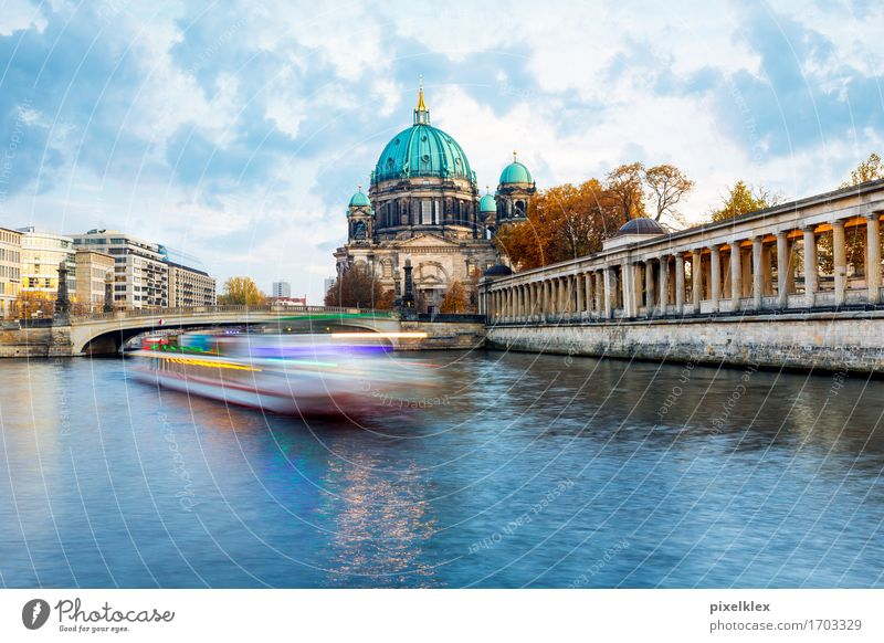 Boat on the Spree Vacation & Travel Tourism Trip Sightseeing City trip Water Clouds River bank Berlin Germany Town Capital city Downtown Dome Bridge