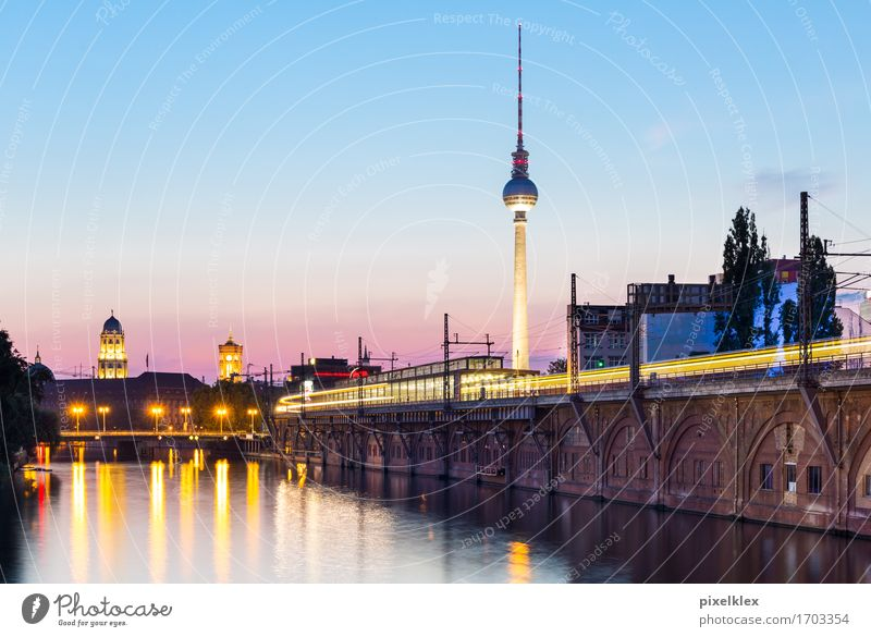Berlin at night Vacation & Travel Tourism City trip Water Sunrise Sunset River bank Spree Germany Town Capital city Downtown Deserted Bridge Tower