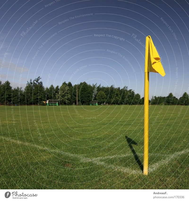 corner flag Colour photo Exterior shot Deserted Copy Space left Copy Space top Day Sunlight Leisure and hobbies Sports Ball sports Referee Soccer Flag