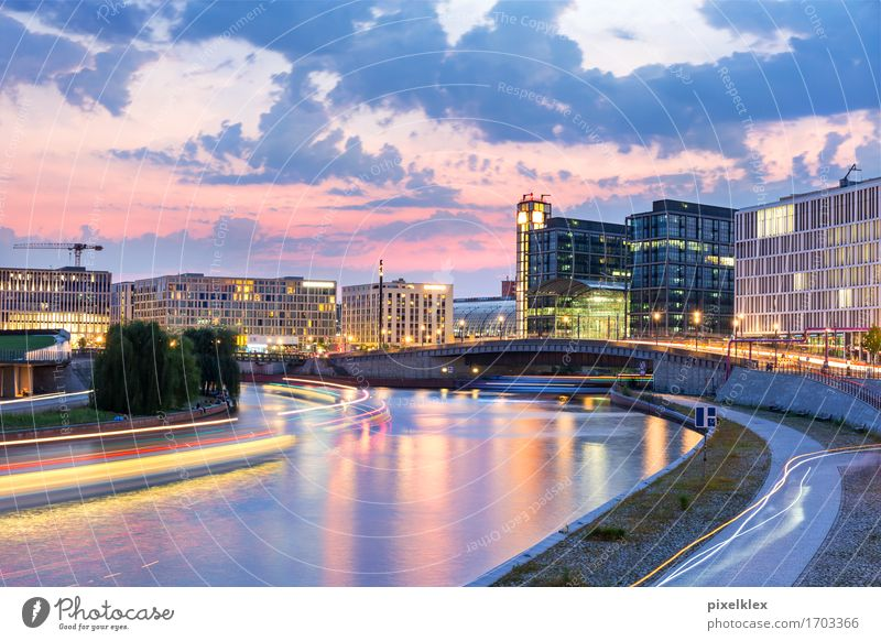 Spree arch at night Vacation & Travel Tourism Trip Sightseeing City trip Night life Water Night sky Sunrise Sunset River bank Spreebogen Berlin Germany Town