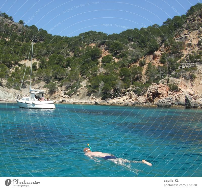Human being Sky Water Blue Ocean Rock Swimming & Bathing Masculine Island Spain Dive Beautiful weather Majorca Vacation mood Vacation photo