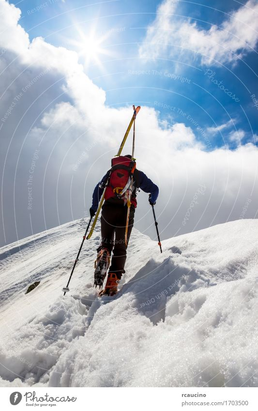 Ski mountaineer walking up along a steep snowy ridge Vacation & Travel Adventure Winter Snow Mountain Hiking Sports Climbing Mountaineering Success Human being