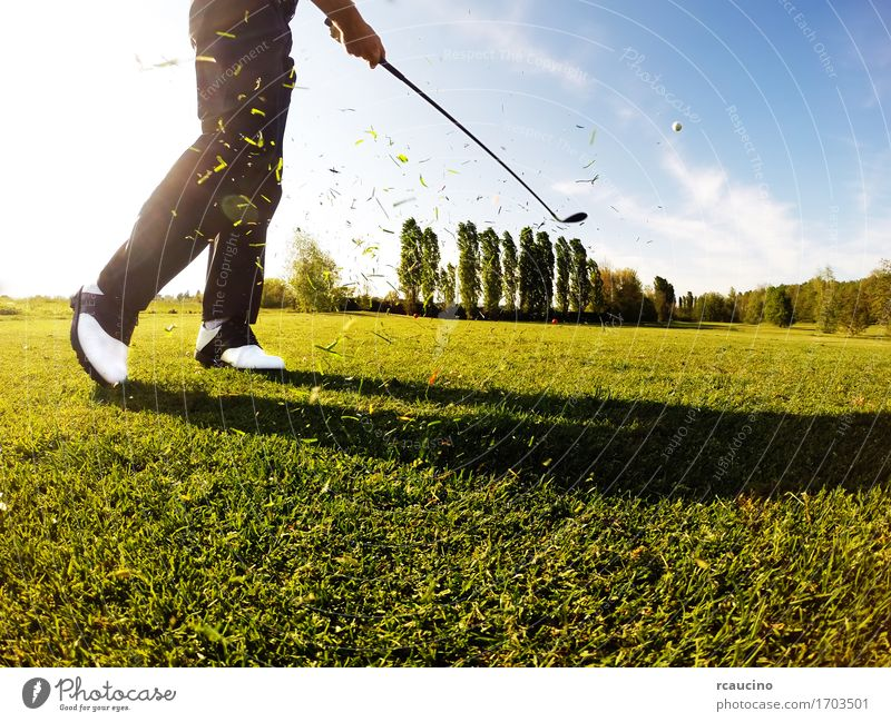 Golfer performs a golf shot from the fairway Lifestyle Relaxation Leisure and hobbies Playing Vacation & Travel Tourism Summer Club Disco Sports Human being Man