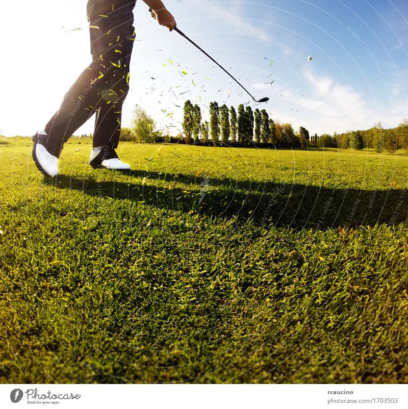 Golfer performs a golf shot from the fairway Relaxation Leisure and hobbies Playing Vacation & Travel Tourism Summer Club Disco Sports Human being Man Adults
