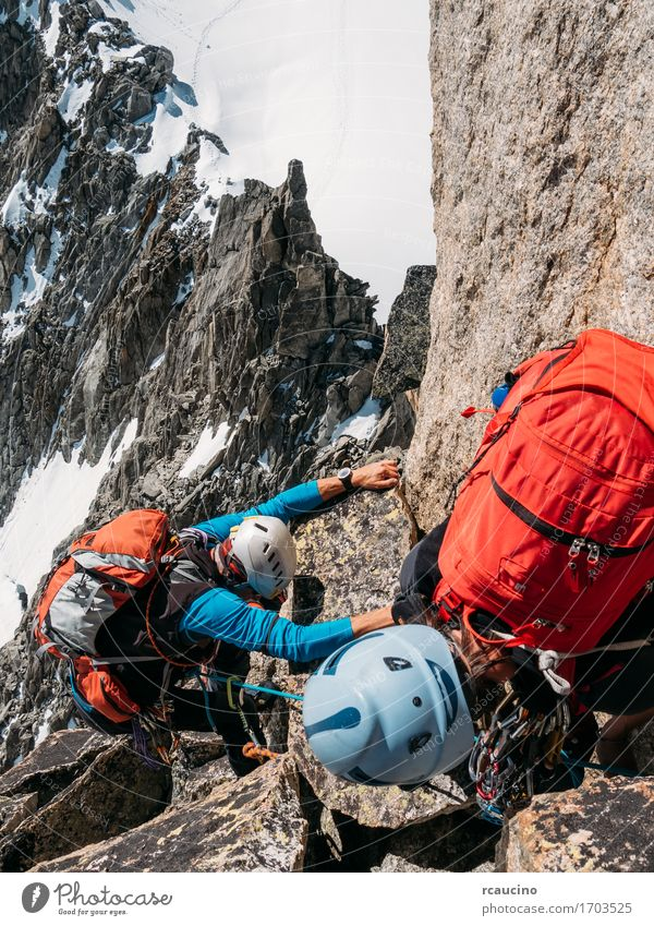 climbers reach the top of a mountain peak. Mont Blanc, Chamonix Human being Woman Nature Vacation & Travel Man Beautiful Landscape Girl Winter Mountain Adults