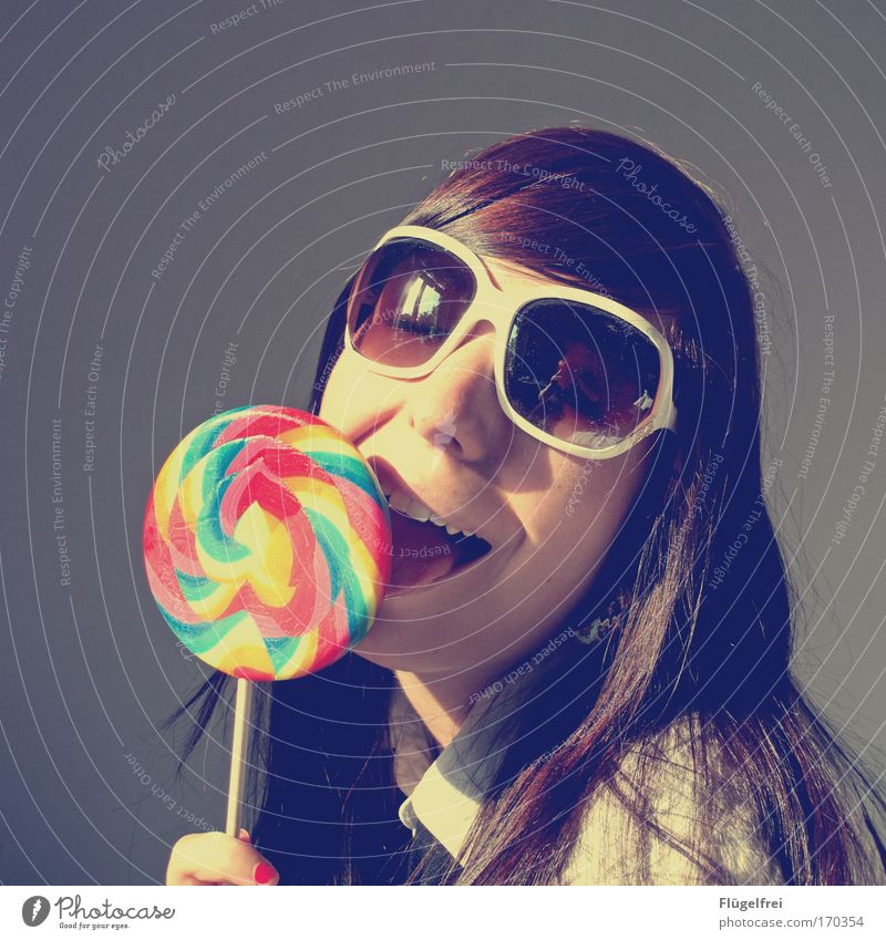 feeling of happiness Feminine Young woman Youth (Young adults) Woman Adults 1 Human being 18 - 30 years Large To enjoy Addiction Candy Lollipop Lick Sunglasses