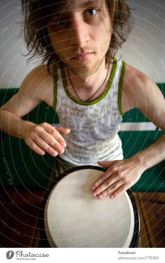 Human being Man Youth (Young adults) Joy Playing Movement Music Art Adults Masculine Crazy Communicate Authentic Culture Drum