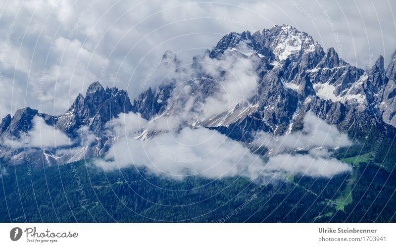 Sexten Rotwand Environment Nature Landscape Plant Air Sky Clouds Summer Fog Tree Forest Rock Alps Mountain Dolomites Sexten Dolomites Peak Snowcapped peak