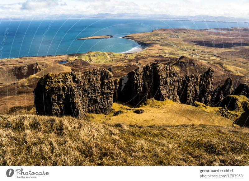 Isle Of Skye coast with rocks Environment Nature Landscape Animal Water Clouds Horizon Spring Weather Beautiful weather Wind Hill Rock Mountain Waves Coast