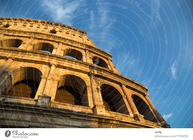 Colosseum in Rome by day with blue sky Tourism Castle Architecture Historic Amphitheatrum Flavium Amphitheatrum Novum Amphitheatre Rainbow Lock History of the