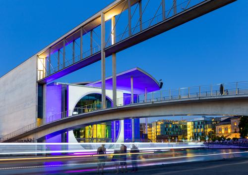 Chancellery at night Tourism Sightseeing City trip Night life River Spree Berlin Germany Town Capital city House (Residential Structure) Bridge