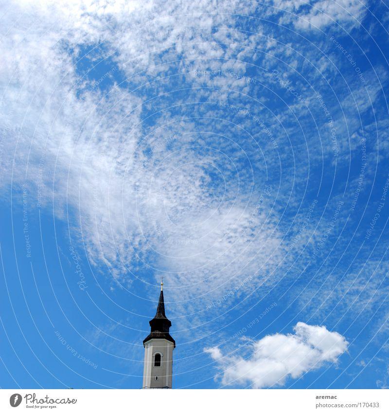Sky White Clouds Church Roof Village Crucifix