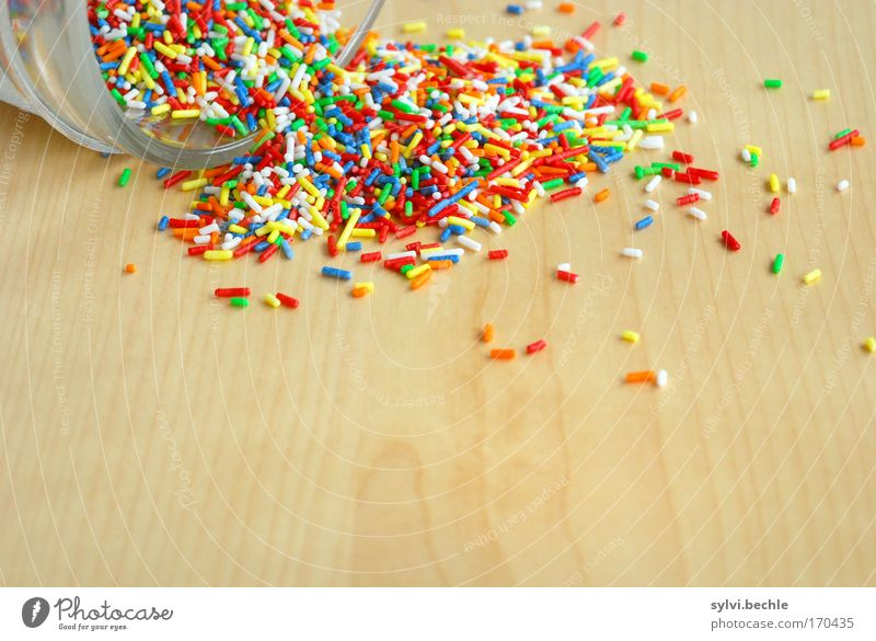 disorder Food Candy Nutrition Bowl Tin Delicious Sweet Fantastic Granules Wood Table Wood grain Crumbs Glass Empty Chaos Unhealthy Tumble down Baked goods