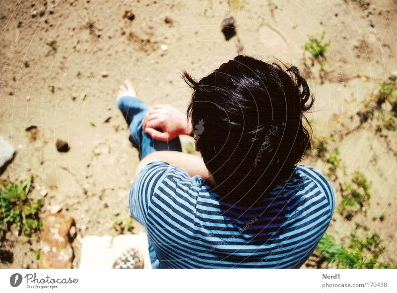 Man Above Hair and hairstyles Sand Wait Sit Ground Stripe T-shirt Striped Anonymous Black-haired Faceless Unidentified Unrecognizable Dark-haired