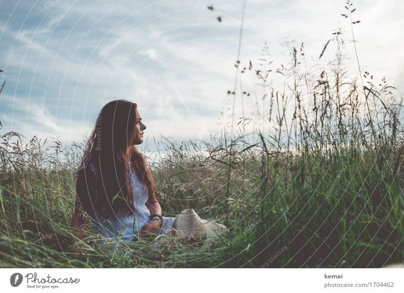 Human being Sky Nature Youth (Young adults) Summer Beautiful Young woman Relaxation Clouds Calm 18 - 30 years Adults Life Meadow Grass Feminine