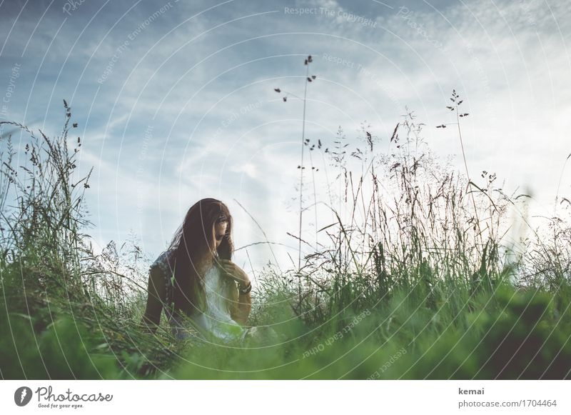 Human being Sky Nature Youth (Young adults) Plant Summer Young woman Relaxation Clouds Calm 18 - 30 years Adults Warmth Life Meadow Grass