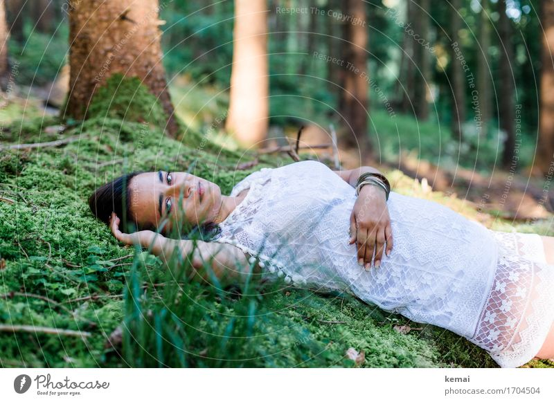Human being Nature Youth (Young adults) Summer Young woman Beautiful Green Relaxation Calm Forest 18 - 30 years Adults Life Lifestyle Emotions Feminine