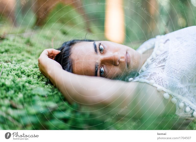 Human being Nature Youth (Young adults) Plant Summer Beautiful Green Young woman Relaxation Loneliness Calm 18 - 30 years Face Adults Environment Life