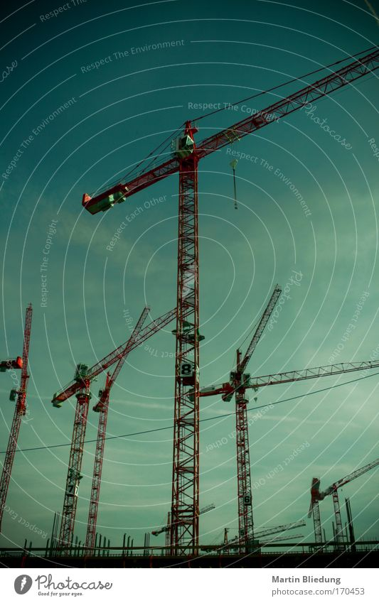 crane lines Construction site Crane Sky Port City Outskirts Metal Steel Work and employment Build Threat Gigantic Large Blue Green Red Black Power Serene Calm