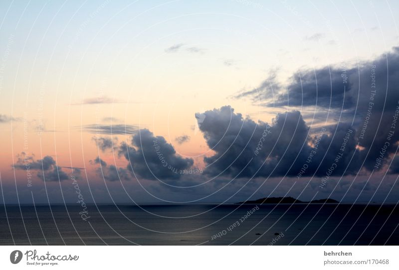 pastel Colour photo Exterior shot Deserted Sunrise Sunset Vacation & Travel Tourism Far-off places Freedom Summer vacation Beach Ocean Island Waves Sky Clouds