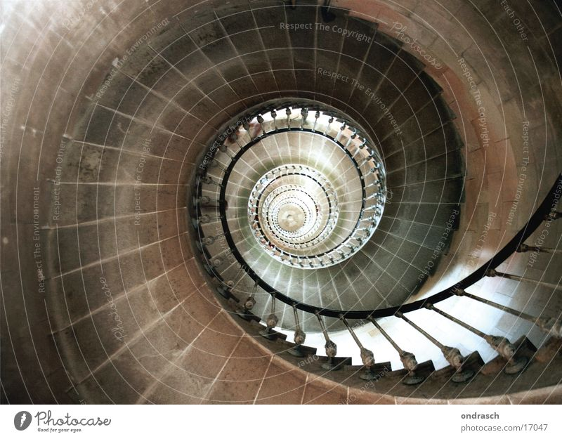 Above Architecture Tall Circle Stairs Downward Rotation Winding staircase