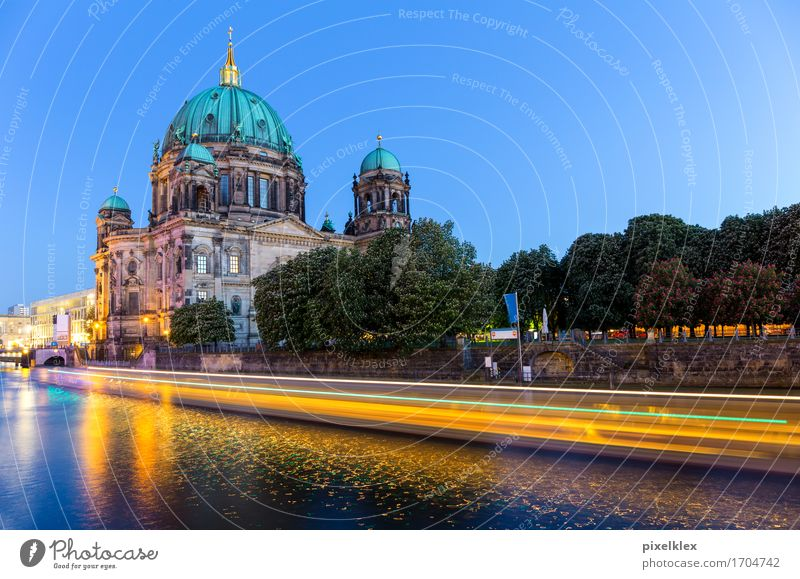 Berlin Cathedral with boat light track Vacation & Travel Tourism Trip Sightseeing City trip River Spree Germany Town Capital city Downtown Old town Church Dome
