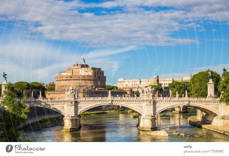 Angel castle with bridge by day and blue sky Tourism Castle Bridge Architecture Historic St. Angel's Castle Castel Sant'Angelo Mausoleo di Adriano Rome Lock