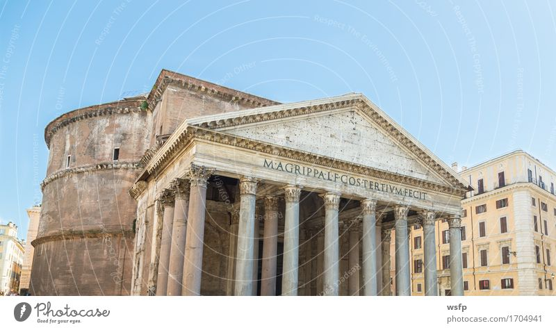 Pantheon in Rome with blue sky Tourism Architecture Historic Blue sky La Rotonda Antiquity History of the Italy travel Roman Hadrian Domed roof temple façade