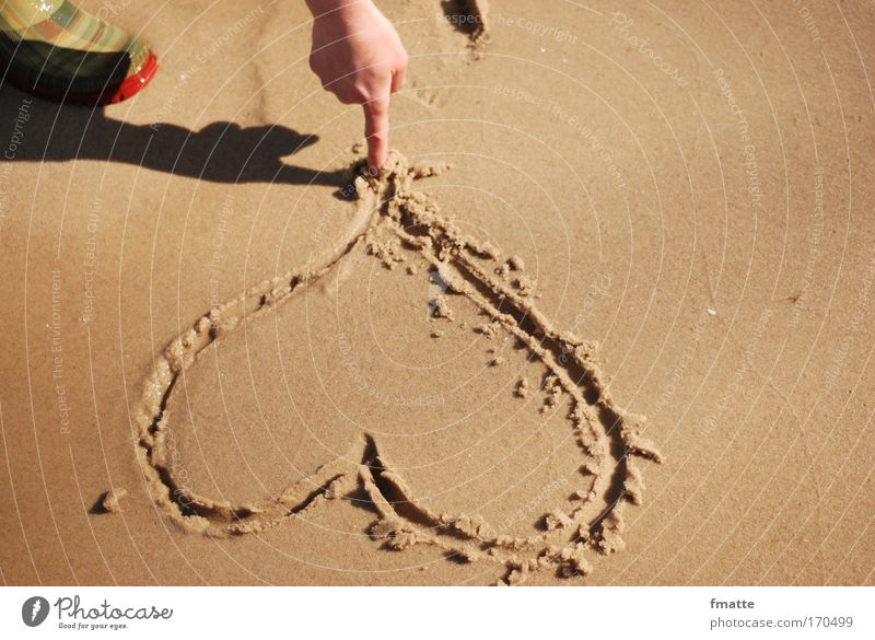 Heart on the beach Colour photo Exterior shot Shadow Downward Vacation & Travel Summer vacation Beach Ocean Sign Characters Draw Natural Brown Joy Happy