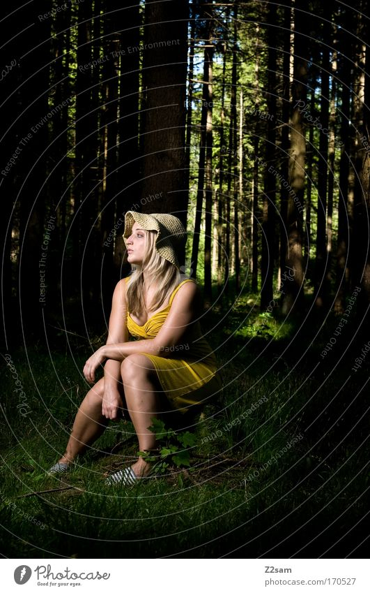 alone in the dark Colour photo Exterior shot Flash photo Looking away Human being Feminine Young woman Youth (Young adults) 18 - 30 years Adults Nature Forest