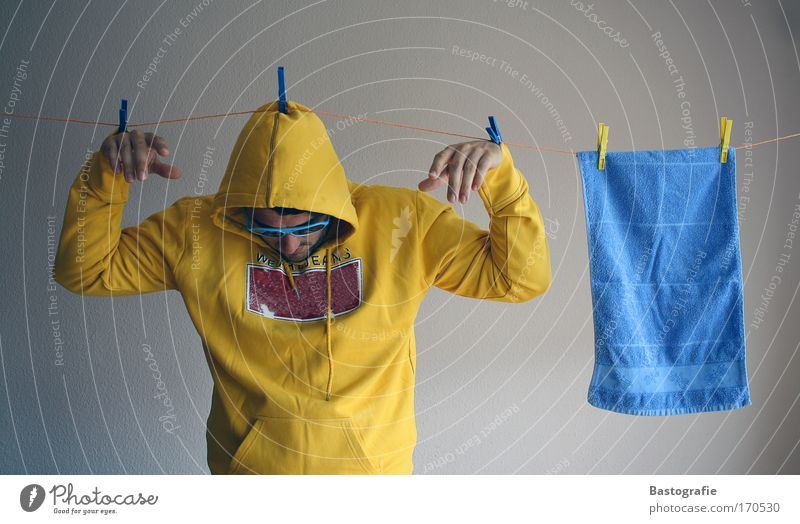 Human being Yellow Wet Masculine Creativity Washing Dry Household Towel Clothesline Cleaning Washing day River Leine Lower Saxony Rope