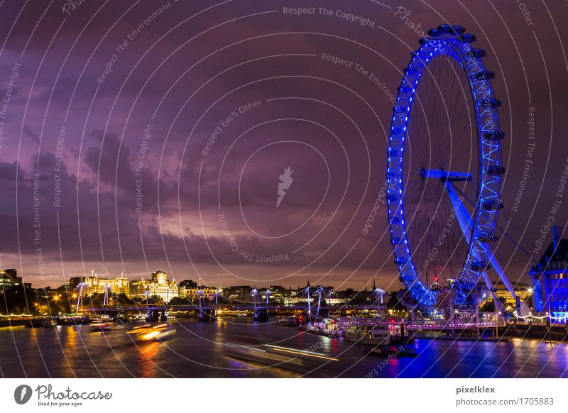 London Eye on the Thames Vacation & Travel Tourism Trip Sightseeing City trip Night life Water Sky Clouds Night sky Horizon Sunrise Sunset River Themse