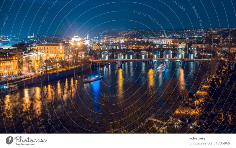 Night prague Town Bridge Vacation & Travel Prague Czech Republic Panorama (View) Colour photo Light Shadow Contrast Night shot Capital city City of millions