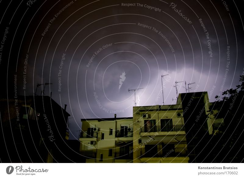 House (Residential Structure) Dark Window Fear Threat Lightning Night Balcony Thunder and lightning Storm Surprise Antenna Bad weather Thunder Storm clouds Flat roof