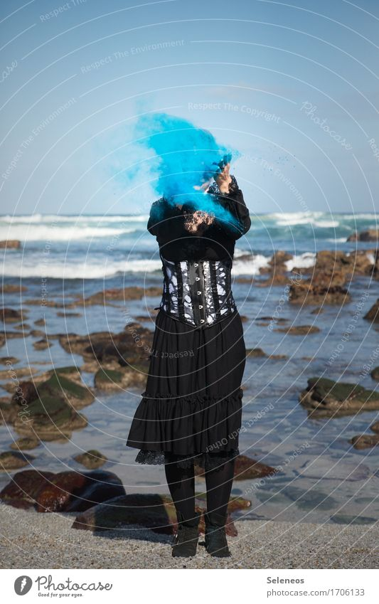 abracadabra Far-off places Freedom Human being Feminine Woman Adults 1 Rockabilly Environment Nature Water Sky Cloudless sky Horizon Waves coast Ocean Dress