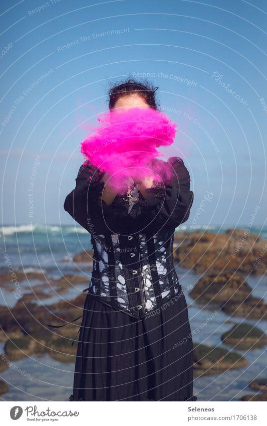 Human being Woman Ocean Beach Adults Coast Feminine Pink Horizon Waves Dress Cloudless sky Anonymous Flour