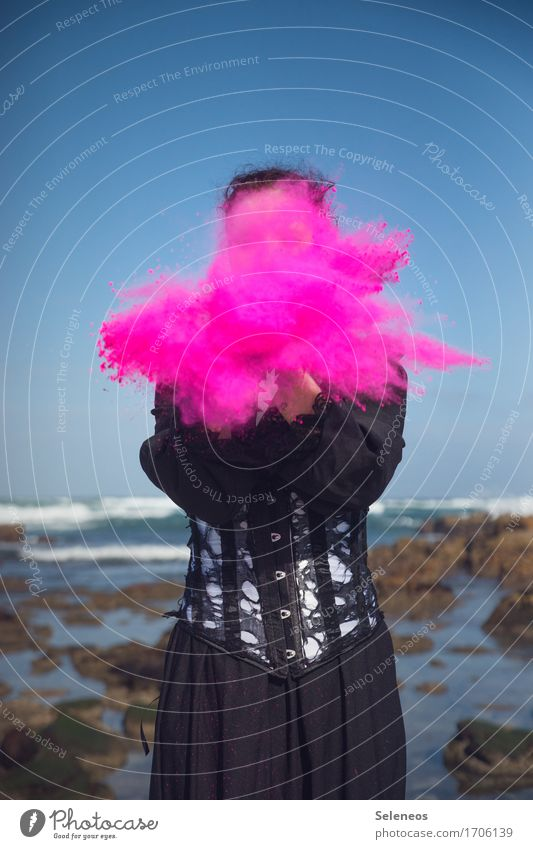 hit Leisure and hobbies Playing Human being Woman Adults 1 Environment Nature Horizon Waves coast Ocean Dress corset Pink holi Flour Colour photo Multicoloured