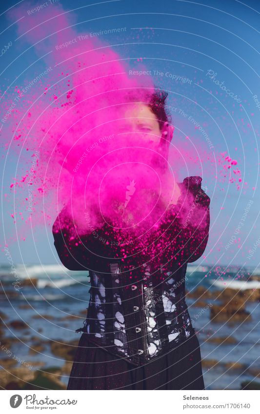 pitche patsche Human being Feminine Woman Adults 1 Rockabilly Event Party Environment Cloudless sky Horizon Waves coast Ocean Throw Happiness Multicoloured Pink