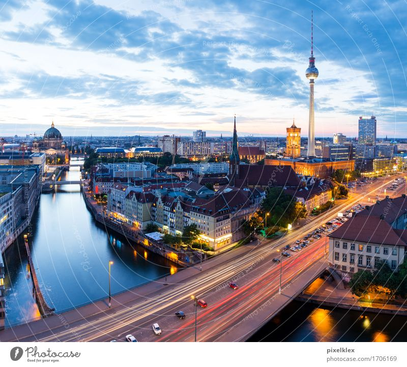 skyline Vacation & Travel Tourism City trip Night life River Spree Berlin Germany Town Capital city Downtown House (Residential Structure) High-rise