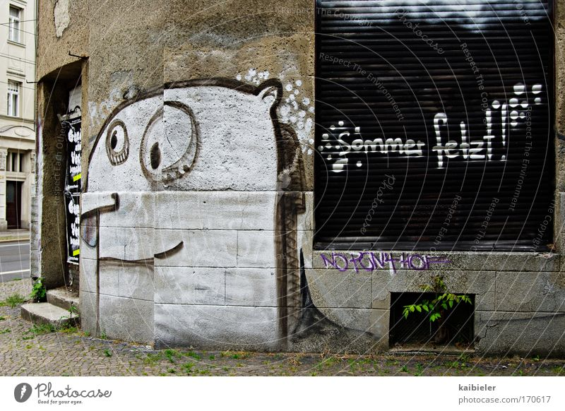 Old White City Summer Loneliness Wall (building) Gray Graffiti Wall (barrier) Brown Funny Facade Closed Gloomy Cool (slang) Characters