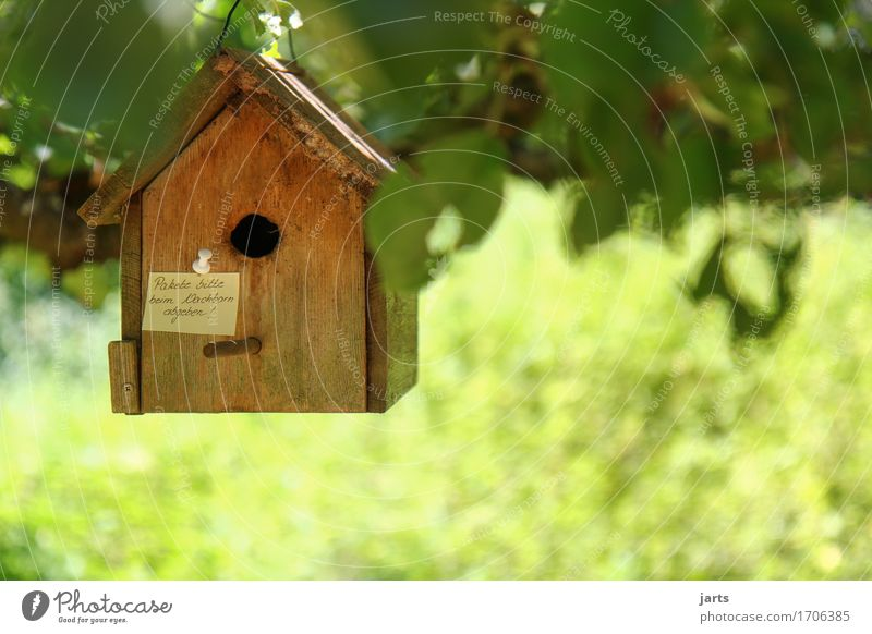 """""""Please deliver packages to neighbor."""" House (Residential Structure) Hut Piece of paper Hang Small Living or residing Information Birdhouse delivery Package"""