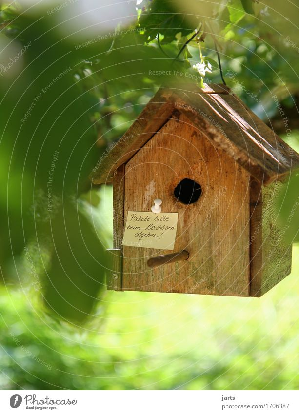 for the package messenger Tree Leaf Garden Forest House (Residential Structure) Hut Signage Warning sign Communicate Birdhouse Piece of paper Information
