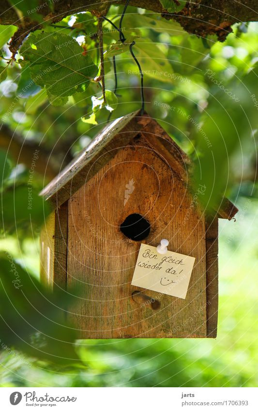 I'll be right back Beautiful weather Tree Leaf House (Residential Structure) Detached house Door Name plate Birdhouse Piece of paper Information Signage Clue