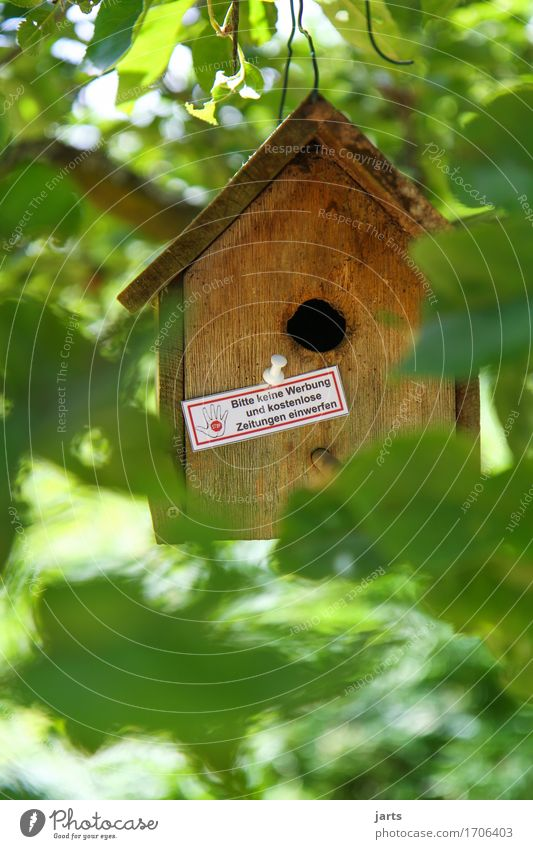 not here Plant Tree Leaf House (Residential Structure) Hut Advertising Living or residing Prohibition sign Birdhouse no advertising Mailbox