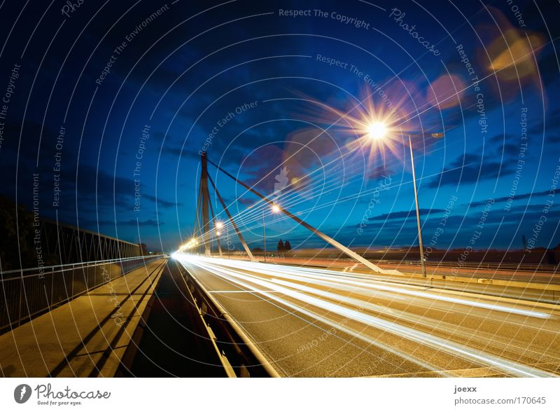 Sky Long exposure Street Car Vehicle Road traffic Light Transport Speed Bridge Driving Truck Highway Lantern Manmade structures Traffic infrastructure