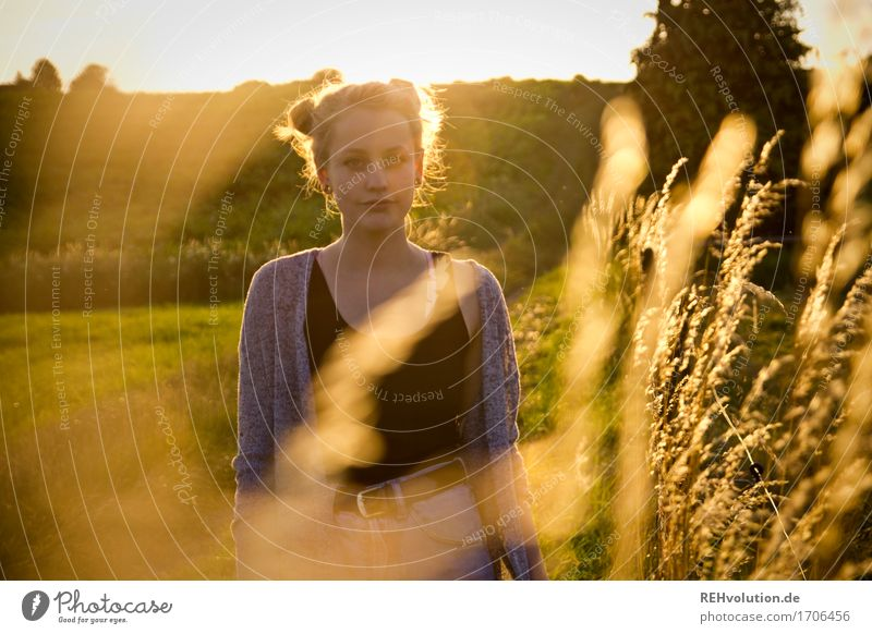 Alexa and the blades of grass. Human being Feminine Young woman Youth (Young adults) 1 18 - 30 years Adults Environment Nature Landscape Grass Meadow Field